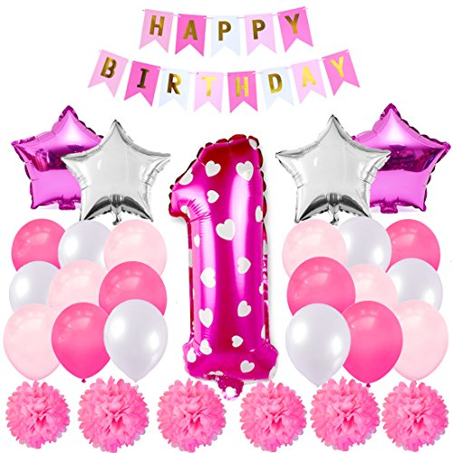 Maticr Sweet Baby Girl First Birthday Decorations Kit, 1st Birthday Balloons & Banner Party Supplies -