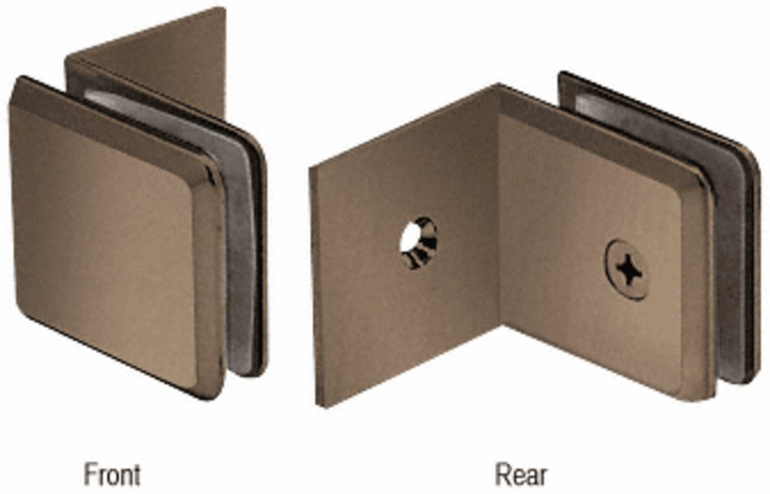 CRL Brushed Bronze Fixed Panel Beveled Clamp With Large Leg by CR Laurence