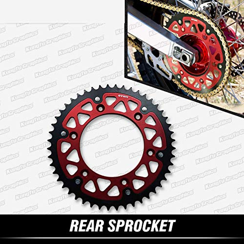 - KUNGFU GRAPHICS Dirt Bike Aluminum & Steel Red Stealth Sprocket 48Teeth for Honda CR CRF XR 125 150 230 250 500 450 400 650 R (Chain Size 520)