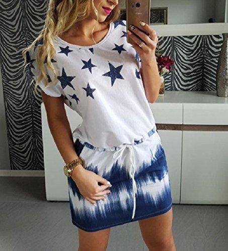 Tutto Stelle Stampata Coulisse women Dye Blu fiammifero Tie Mini Coolred Abiti wtCqOA8