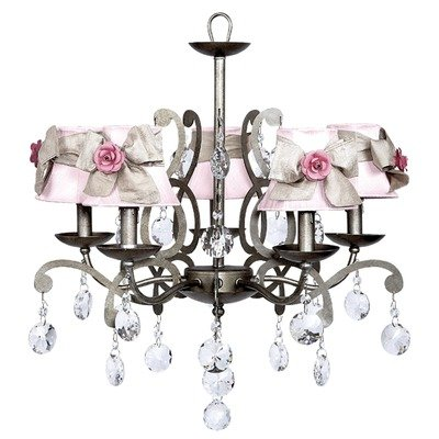 Jubilee Collection 79015-2412-514-MG2302 5 Light Elegance Antique Grey Custom Crystals Chandelier with Plain Pink Shade and Champagne Sashes/Bright Pink Rose (Antique Pewter Five Light Chandelier)