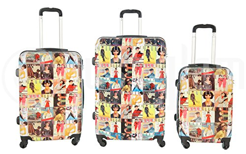 Trolley valigia set valigie rigide set bagagli in policarbonato abs super leggeri 4 ruote piroettanti trolley piccolo adatta per cabina con compagnie lowcost art riviste / unico