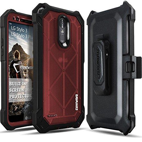 LG Stylo 3 / Stylo 3 Plus / LS777 Case, COVRWARE [Ranger Pro] Built-in [Screen Protector] Full Body Rugged Holster Armor Case [Belt Swivel Clip][Kickstand], Red
