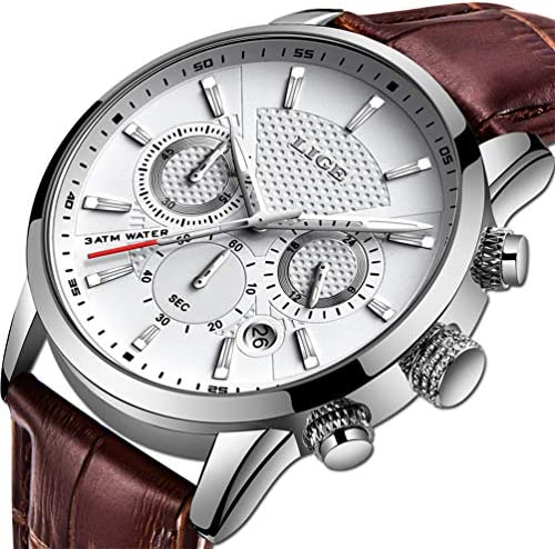 LIGE Men s Watches Fashion Luxury Military Sport Analog Quartz Chronograph Watch for Men Classic Casual Waterproof Watch Brown White Leather Gents Dress Wristwatch