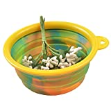 Collapsible Silicone Pet Bowl Smdoxi Portable Bowl for Pet Cat Food Water Feeding Portable Travel Bowl Free Carabiner (Yelow)