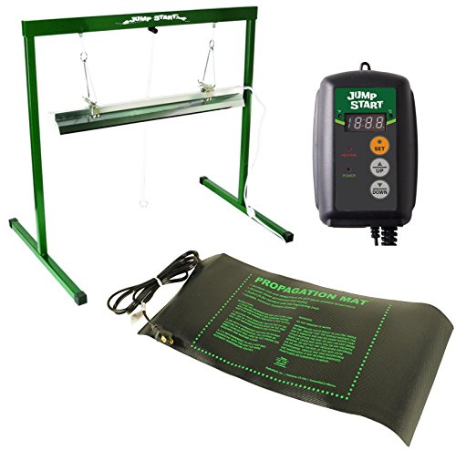 17W Seedling Heat Mat + Hydrofarm MTPRTC Temp Controller & JSV2 Lighting System by Hydrofarm
