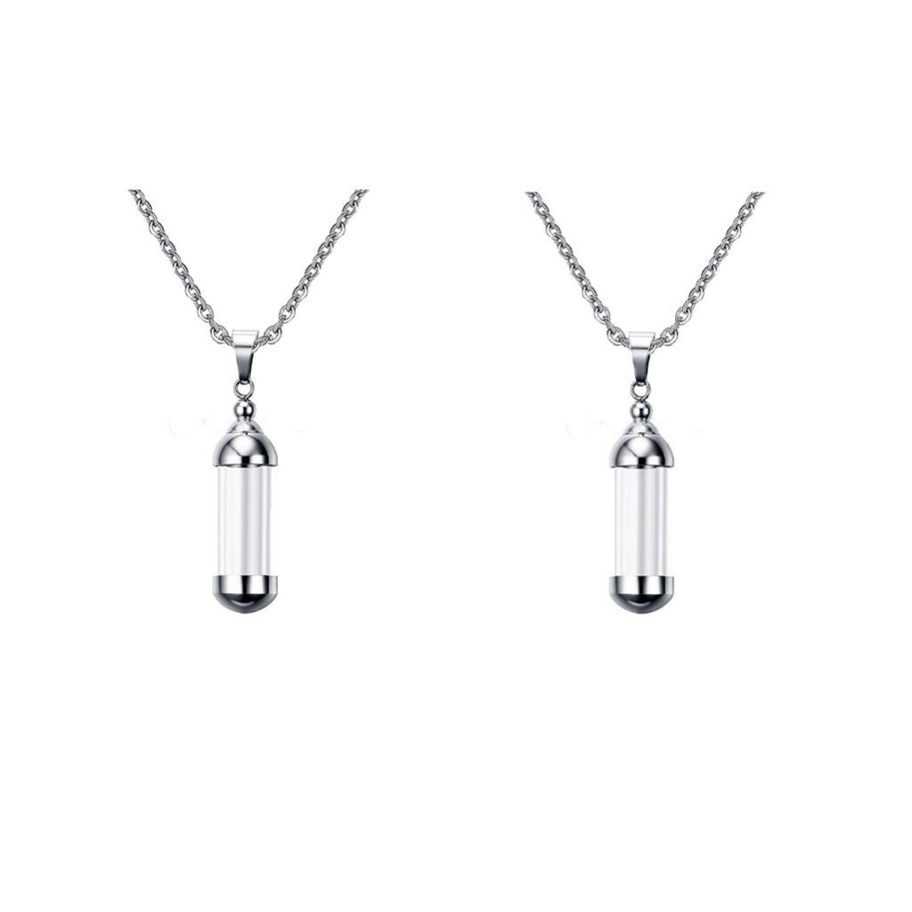 2pcs Vial Necklace Glass Vials Mini Glass Bottles Necklace Pendants for Jewelry Making
