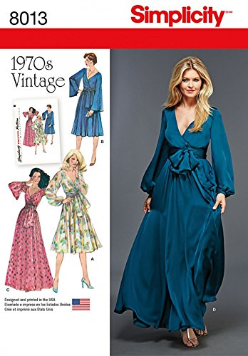 1960s Sewing Patterns | 1970s Sewing Patterns Simplicity Ladies Sewing Pattern 8013 1970s Vintage Style Faux Wrap Dresses $12.35 AT vintagedancer.com