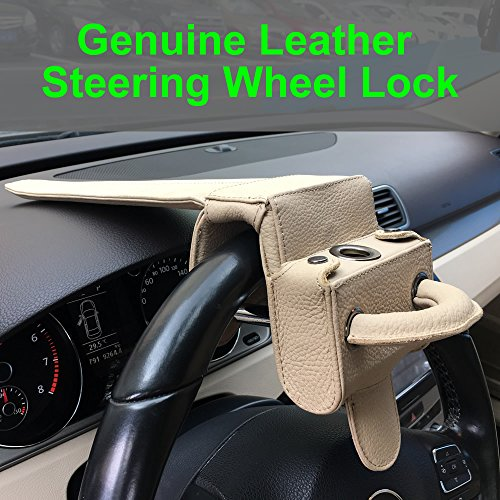 Universal Heavy Duty Car Van Steering Wheel Lock Anti Theft Security Device (Genuine Leather protection) by Keeping (Image #2)