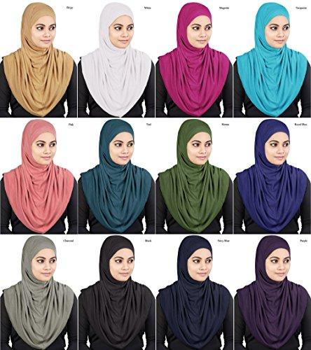 MyBatua Womens 2-Piece Al-Amira Hijab with Under Scarf/Cap/Bonnet in Soft Viscose Jersey, Ready to Wear HJ-129