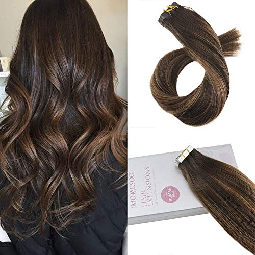 Moresoo 14 inch Tape in Hair Extensions Balayage Colored Hair Dark Brown #2 Ombre to Brown #6 Highlighted with #2 20pcs/50g 100 Real Human Hair Tape Remy Human Hair Extensions Full Head Set