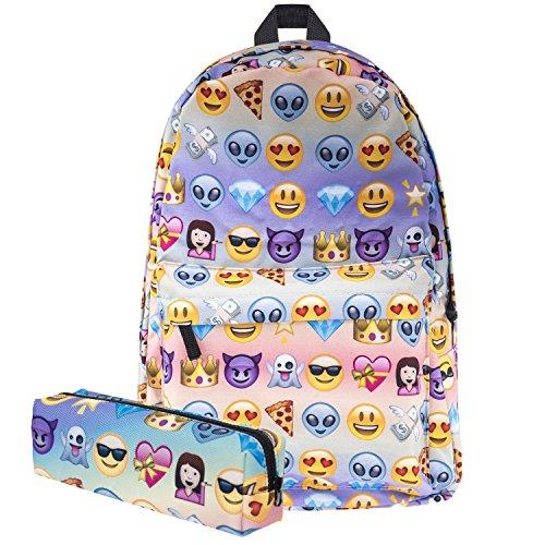 Koojoee A-001 Canvas Unisex Emoji School/Hiking/Travel/Camping/Laptop Backpack/Book Bags/Daypacks for Kids/Girls/Boys/Teenagers/Women (Free Pencil Bag), Sliver