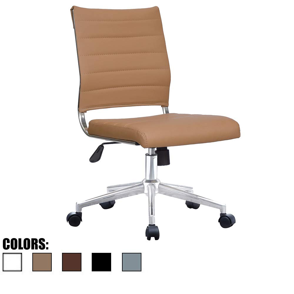 2xhome Tan Modern Ergonomic Executive Mid Back PU Leather No Arms Rest Tilt Adjustable Height Wheels Cushion Lumbar Support Swivel Office Chair Conference Room Home Task Desk Armless