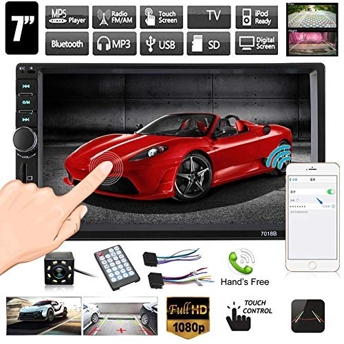 Rear View Camera Double Din Car Stereo 7 inches Touch Screen in Dash Car Radio Receiver Audio Video Player Supports Bluetooth FM Mp3 TF USB AUX Subwoofer with Remote Control
