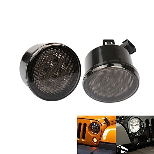 Jeep Turn Signal Assembly (AUXMART Amber Front LED Turn Signal Light Assembly for 2007-2017 Jeep Wrangler JK (Pack of 2))