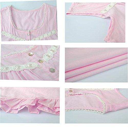 Dorekim Donna Senza Manica Camicie da Notte Rosa Pigiama DK7815