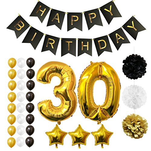 30th Happy Birthday Party Balloons, Supplies & Decorations by Belle Vous - All-in-One Set - Large 30 Years Foil Balloon - Gold, White and Black Latex Balloon Decoration - Decor Suitable for All Adults (30th Birthday Party Themes)