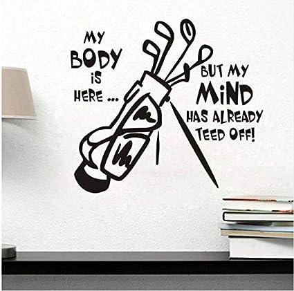 ZZYQING Pegatinas de pared, palos de golf vinilo tatuajes de ...