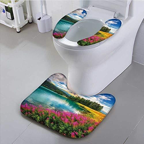 (UHOO2018 Bathroom Non-Slip Rug Set Azure Alpine Lake champfer Unusual and Picturesque Scene Location Personalized)