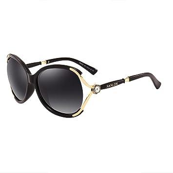 HONEY Gafas de sol polarizadas femeninas de gama alta Primavera Verano - Nuevo material actualizado - Aseguramiento de la calidad (Color : Bright black) : ...