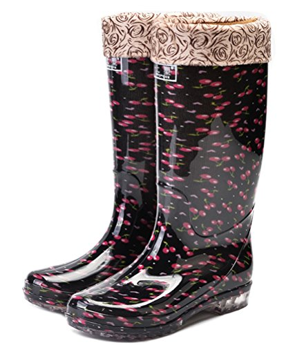 (Rain Boots Women Mid-top, Casual Waterproof Rain Footwear Pull-on Antiskid (7.5, Cherry (Cotton Lining)))