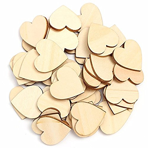 ROSENICE Wooden Slices 50pcs Heart Shaped Unpainted Natural Birch Tree Embellishments Sliced Log