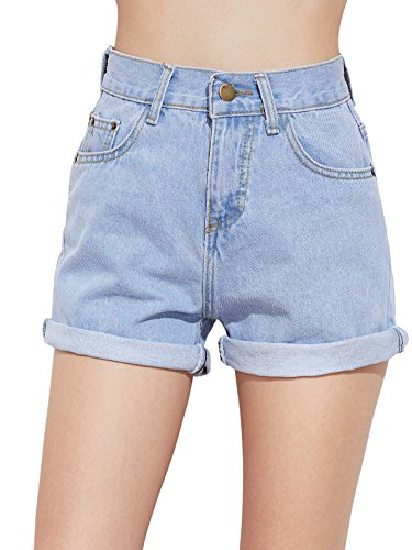 SweatyRocks Women's Retro High Waisted Rolled Denim Jean Shorts with Pockets