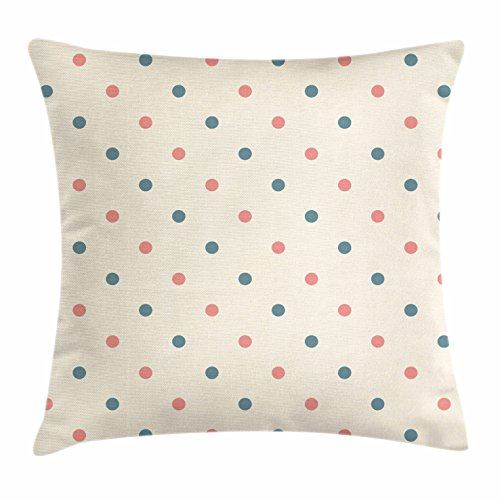 Ambesonne Geometric Throw Pillow Cushion Cover, Traditional Polka Dots Pattern Retro Vibes European Culture Inspired, Decorative Square Accent Pillow Case, 26 X 26 Inches, Cream Slate Blue Coral