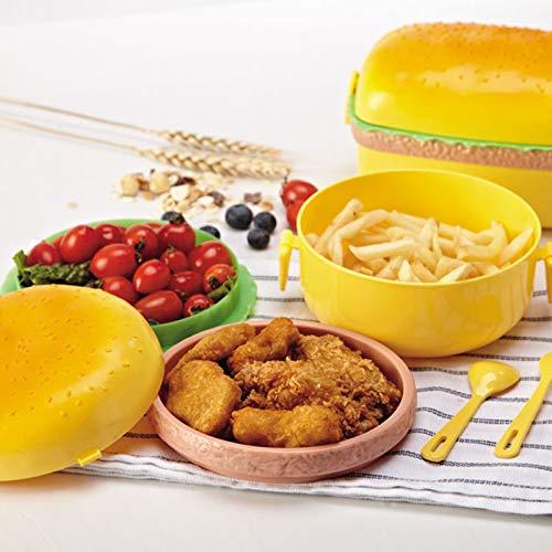 itemer almuerzo caja Multi Compartimiento Convertible Bento caja hamburguesa contenedor de almacenamiento de alimentos de pl/ástico
