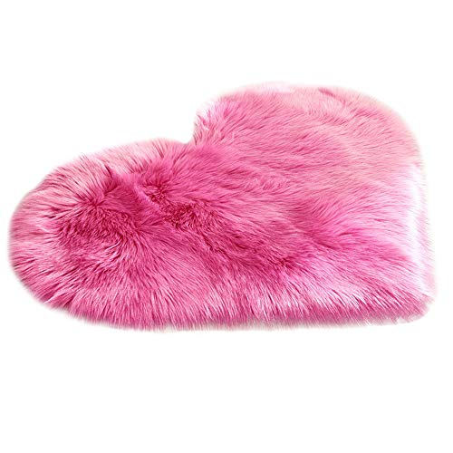 Area Rugs Faux Sheepskin Fur Area Rugs Love Heart Shape Super Soft Fluffy Shaggy Chair Couch Cover Silky Rug for Bedroom Floor Sofa Chair Floor Mat Plush Seat Pad Carpet from charmsamx