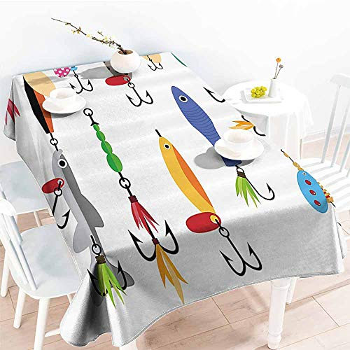 (Homrkey Washable Table Cloth Fishing Decor Elements of Fishing Line with Stringer Net Bite Indicators Worms Waders Image Multi Washable Tablecloth W40)