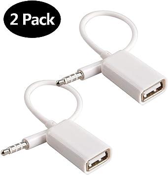style exquis prix bonne vente de chaussures Adaptateur AUX vers USB 3.5mm Prise mâle audio Auxiliaire vers USB 2.0  Femelle Convertisseur Câble Cordon Convertisseur pour Voiture Blanc 2 PACK  par ...