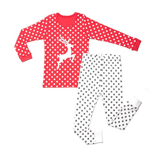 OllCHAENGi Little Boys Girls Kids Cotton Pajama Sleepwear Set Long Sleeve 18M-12Y Rudolf Red (100)