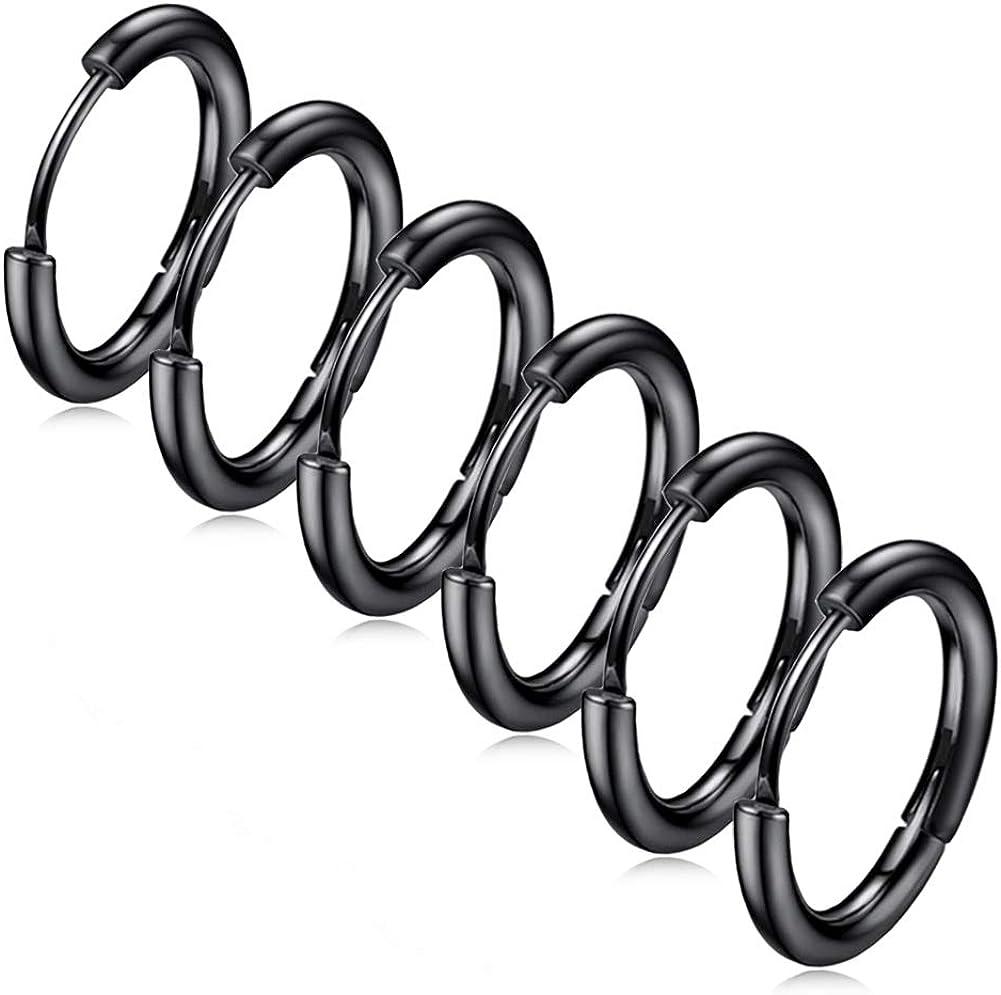 ZHIYAOR Hypoallergenic Titanium Steel Loop Earrings Set for Men Women Huggie Hoop Cartilage Piercing 18G