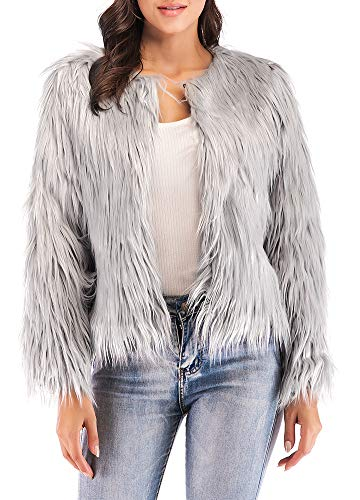 Anself Women's Shaggy Faux Fur Coat Solid Color Long Sleeve Short Jacket - Vest Coat Fur Jacket