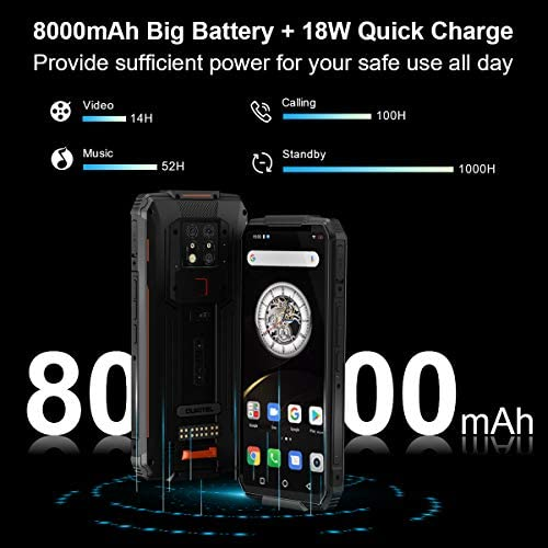 OUKITEL WP7 Unlocked Rugged Smartphone 8000mAh Battery 128GB+6GB Cellphone Night Vision Camera 48.0MP+16.0MP Global 4G LTE Octa-Core 6.53 inch GPS NFC WeeklyReviewer