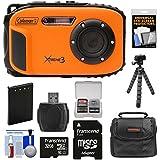 Coleman Xtreme3 C9WP Shock & Waterproof 1080p HD Digital Camera (Orange) with 32GB Card + Battery + Case + Flex Tripod + Kit