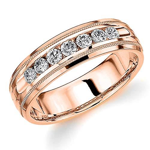 Men's .50ct Grooved Milgrain Diamond Ring in 14K Rose Gold - Finger Size 12.5 (Mens Rose Gold And Diamond Wedding Bands)