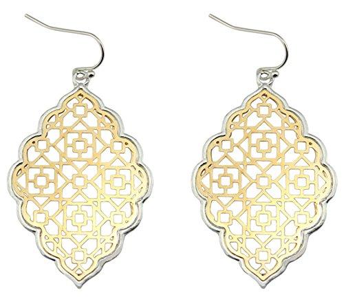 StylesILove Womens Trendy Two-Tone Cut Off Filigree Quatrefoil Long Chain Pendant Necklace Dangle Earring (Silver Border+Gold - Earrings)