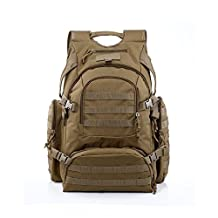 YAKEDA Tactical Backpack/Military Rucksacks/Sports Outdoor Military Bag/Compact Pack/Summit Bag for Hunting Shooting Camping Hiking Trekking-A88042(Mud Color)
