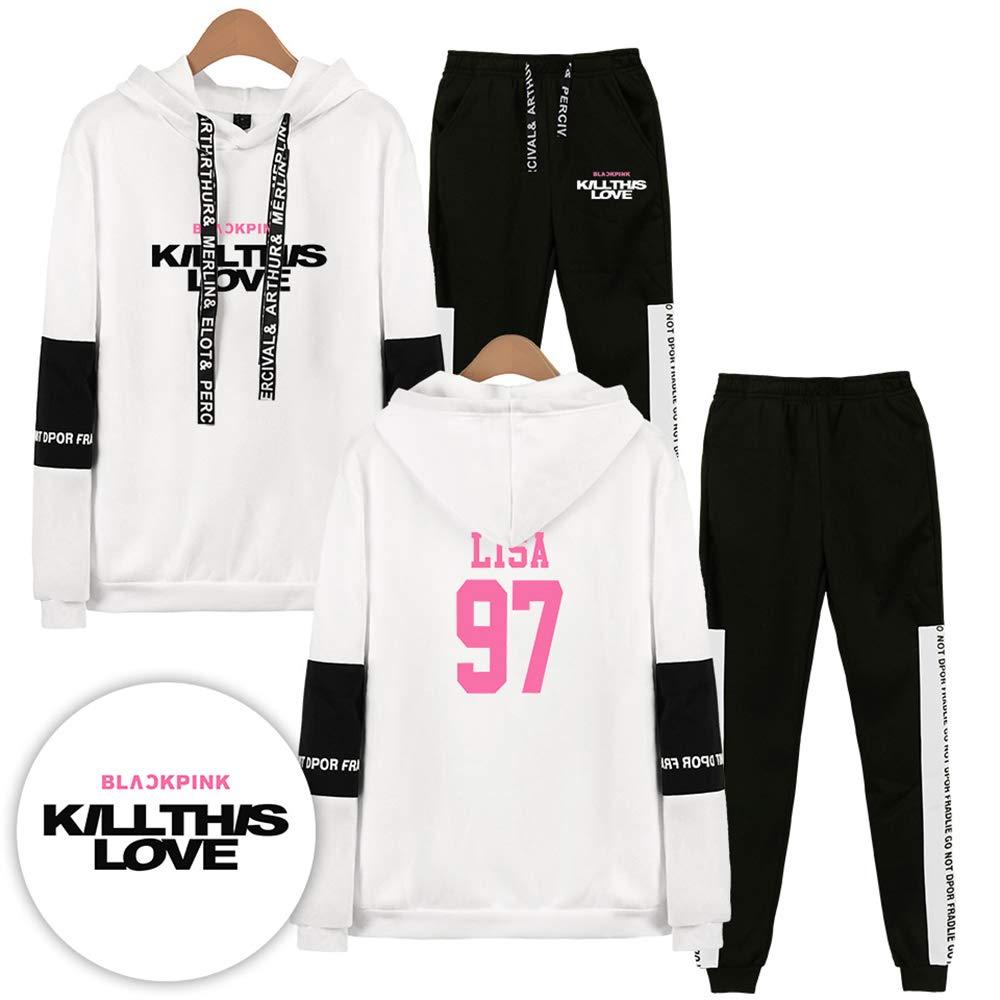 Tuta Sportiva Unisex Blackpink Nuovo Album Kill This Love Stile Classico Lisa Rose JISOO Jennies Fashion Casual Maglione con Cappuccio Pantaloni da Tuta Suit