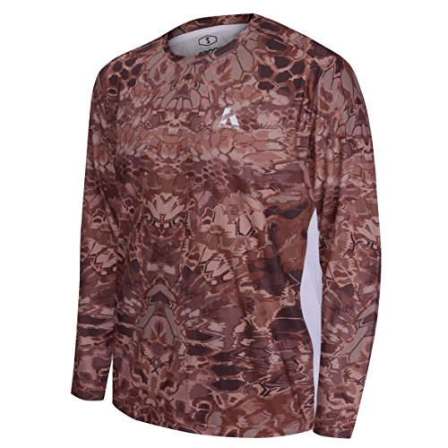 Koofin Performance Hunting Shirt UPF 50+ Men's Tech Long Sleeve Shirt Camo Kryptek Loose Type