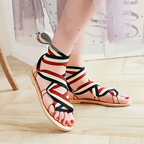 Sandals Coolcept Lace Red Women Shoes Up Fashion Black EIq4wrfI