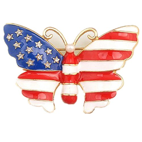Pins Hat Red Jewelry (HAPPYTRY Butterfly Brooch American Flag Star USA Pin for Men Women, Fashion Cute Wedding Party Jewelry Winged Insect Brooch, Red White Blue)