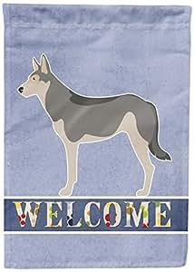 Caroline's Treasures BB8296CHF Saarloos Wolfdog Welcome Canvas House Flag, Multicolor