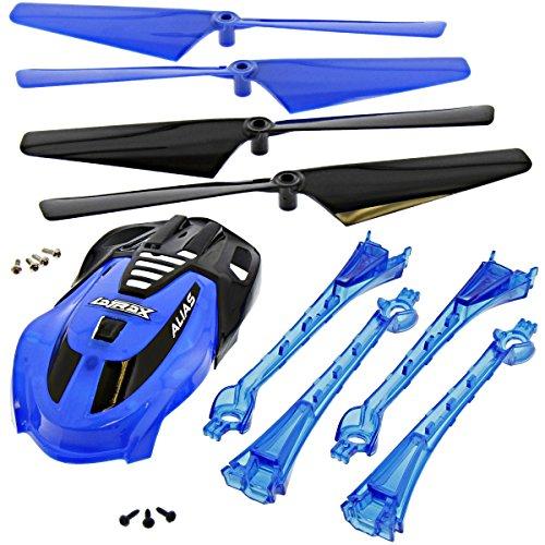 Traxxas LaTrax Alias * BLUE CONVERSION KIT, CANOPY, LED LENS & 4 ROTOR BLADES * (Latrax Canopy)