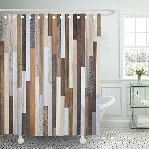 Abaysto Pallet Wood Colorful Planks Rustic Abstract Aged Beautiful Beech Board Candy Bathroom Decor Shower Curtain Sets with Hooks Polyester Fabric Great Gift