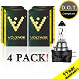 Voltage Automotive H11B Standard Headlight Bulb (4 Pack) - OEM Replacement Halogen High Beam Low Beam Fog Lights Driving Lights