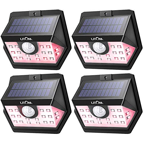 LITOM Solar Lights Outdoor, Wireless LED Solar Motion Sensor Lights...