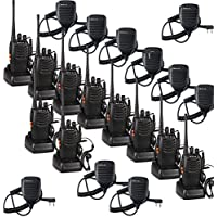Retevis H-777 Walkie Talkies UHF 400-470MHz 16CH Flashlight Single Band with Original Earpiece 2 Way Radio Ham Radio (10 Pack) and Speaker Mic (10 Pack) and Programming Cable